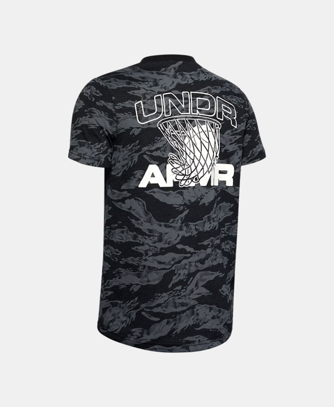 男童UA AOP Camo篮球T恤