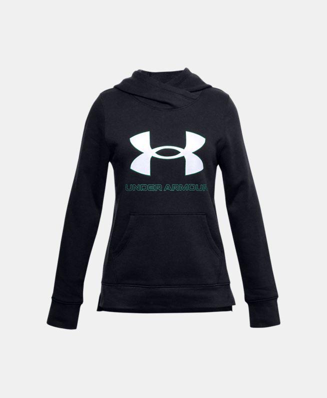 女童UA Rival Logo抓绒连帽上衣