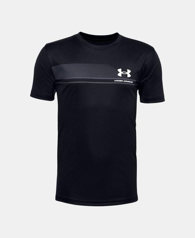 男童UA Tech Lockup Stripe短袖T恤