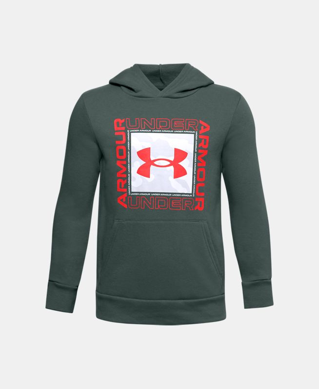 男童UA Rival Box Logo抓绒连帽上衣