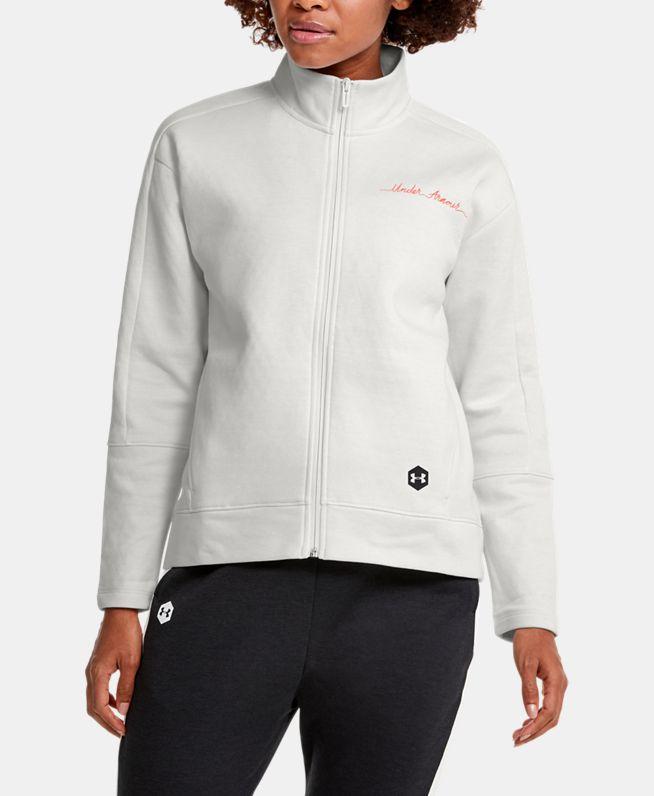 女士UA Recovery Fleece Graphic Script拉链衫