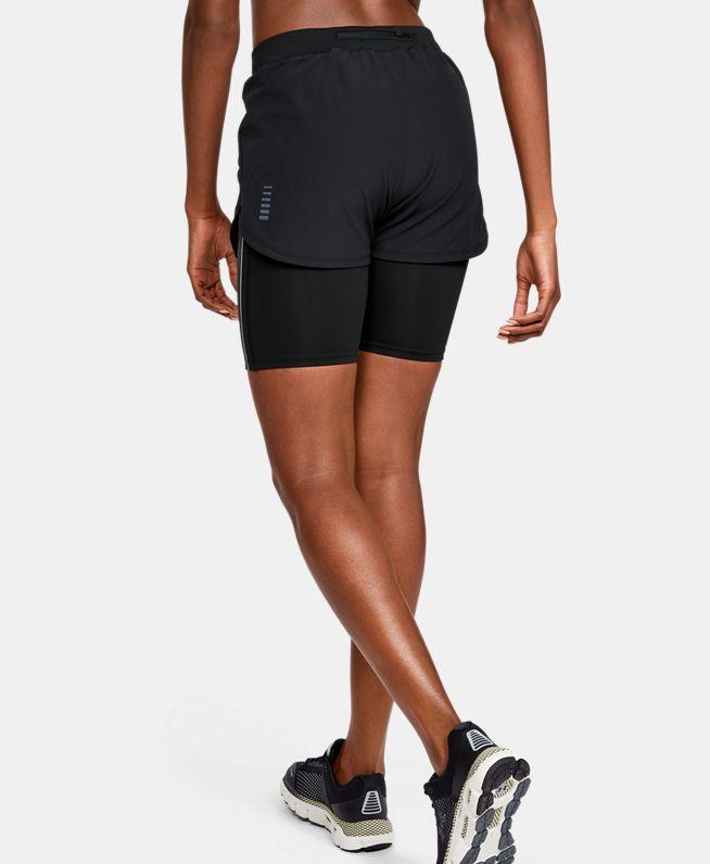 女士UA RUSH二合一跑步短裤
