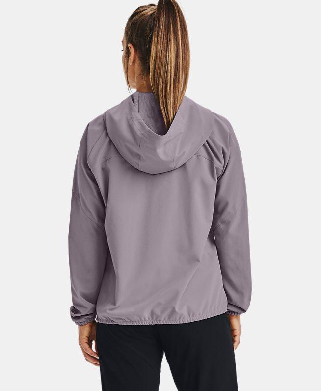 女士UA Woven Branded拉链连帽上衣