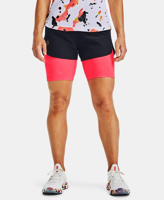 女士UA RUSH Run Upstream Camo二合一跑步短裤