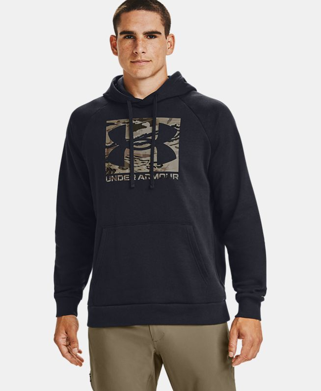 男士UA Rival Camo Logo抓绒连帽上衣