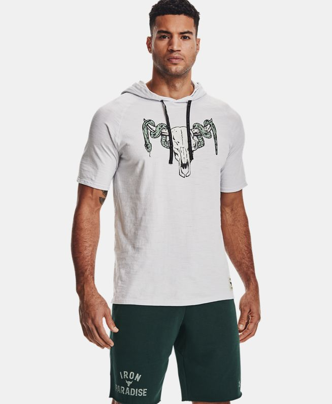 男士Project Rock强森Charged Cotton®连帽短袖T恤