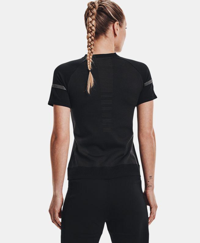 女士UA IntelliKnit 1/4拉链短袖T恤