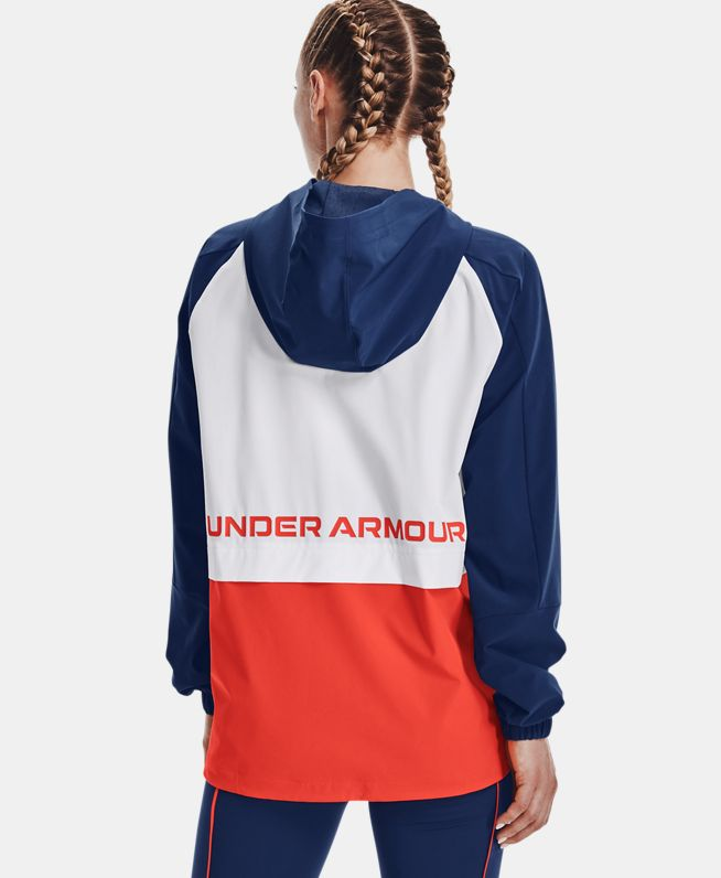 女士UA RUSH梭织1/2拉链运动上衣
