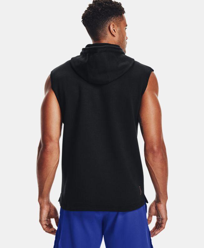 男士Project Rock强森Charged Cotton®抓绒无袖连帽上衣