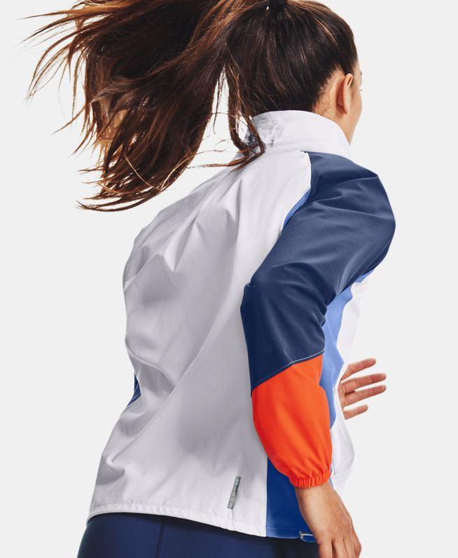 女士UA RUSH Colorblock梭织全拉链运动上衣